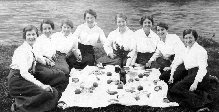 Old Photograph Women Picnic River Tay Perth Perthshire Scotland